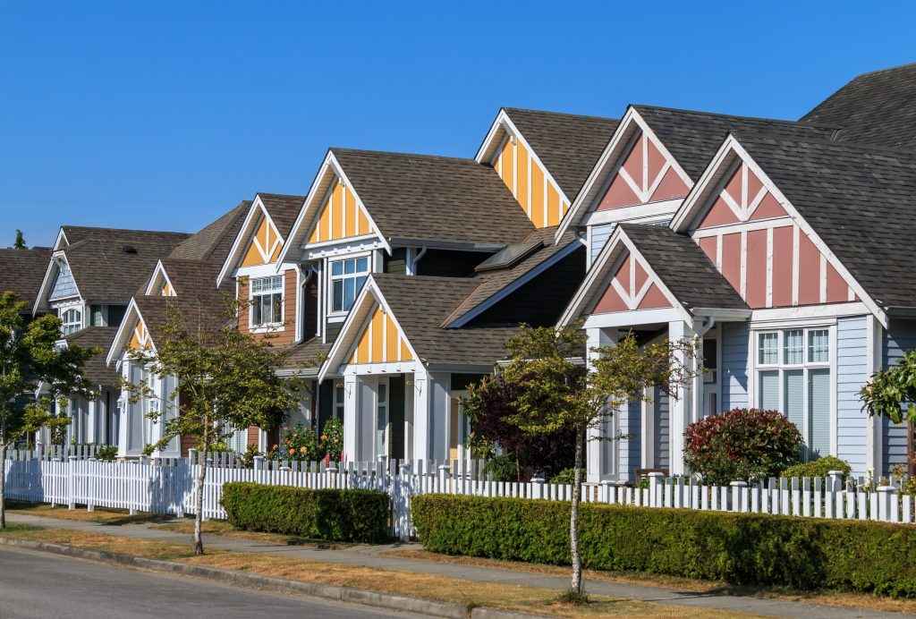 New row homes in the Fraser Valley area