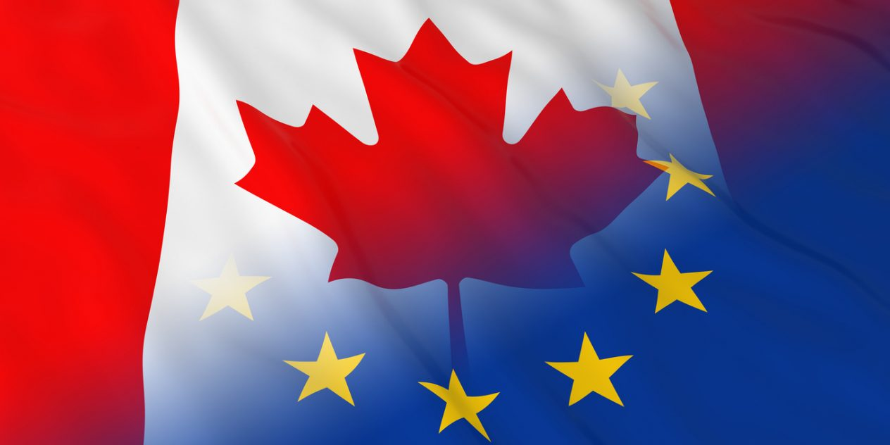 Canadian Flag overlapping the European Union flag after Brexit